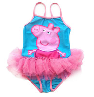 Blue Baby Girls Peppa Pig One Pieces Swimwear Children Cartoon Swimsuit Peppa Pig Bathing suit kids swimsuit