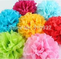 "Colorful Tissue Paper Flower Flowers Ball Tissue Paper Pom Poms Wedding Party Decoration 35cm 14"", 10 pieces/lot M4"