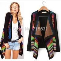 New Arrival Cardigan Sweaters 2014 Autumn Women Fashion Rainbow Loose Geometric Shawl Full Long-Sleeve knitted Sweaters