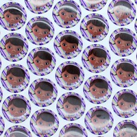 1'' Free shipping Doc McStuffins 3D dome round clear Epoxy Resin sticker for Bottle cap DIY Self Adhesive hair bow 25mm P2998