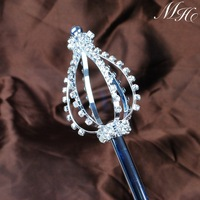 Vintage Sceptre Austrian Rhinestones Pageant Wedding Silver Bridal Scepter Wand Magic Fairy Party Costumes Accessories