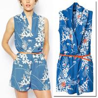 2014 Summer Celebrity Women Trendy Ethnic Floral Print Blue Short Sleeve Jumpsuit Romper Shorts