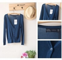 FREE SHIPPING, 2013 new fashion long sleeve knit sweater v neck thin Cardigan Sweater air conditioning anti-UV shirt