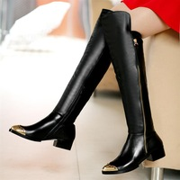 hot selling 2014 single boots genuine leather Knight tall canister boots knee-high boots Free shipping