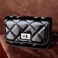 2014 women's handbag plaid chain bag black small messenger bag B83