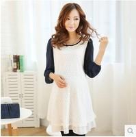 2014 new Korean style maternity dress fashion slim lace maternity dress free shipping W7305