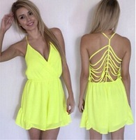 Europe station ladies fashion sexy V-neck chiffon halter piece pants hollow personalized clothing