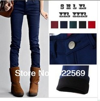 FREE SHIPPING,  2014  fall /winter New  style  high quality inner fleece women's  long pants