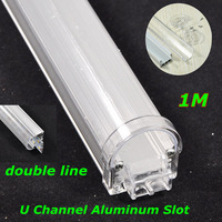 30pcs/lot, DHL/EMS,1M waterproof double lines U type aluminum slot for 72leds DC12V led bar rigid light SMD7020/5630,Retail