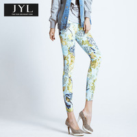 Born to be real not perfect JYL jeans high fashion designer colorful flower patterns brand jean slim skinny jeans femme denim