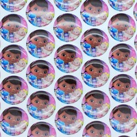 1'' Free shipping Doc McStuffins 3D dome round clear Epoxy Resin sticker for Bottle cap DIY Self Adhesive hair bow 25mm P2997