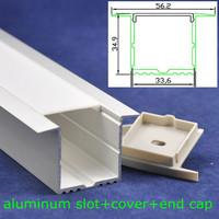 10pcs/lot,DHL/EMS, 33.6*34.9mm deep U shape led profile aluminum slot 1m length with cover and end cap,free shipping
