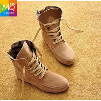 Big Size 33-44 Hot Sale Womens Ankle Motorcycle Boots Suede Leather Lace-Up Martin Boots Women snow boots  WS3063
