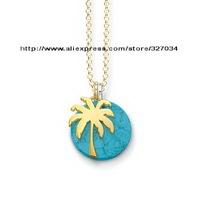wholesale women gift  men gift necklacesKarma Beads necklaces tsa0111 Blue stone with palm trees