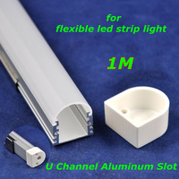 20pcs/lot, DHL/EMS,soft led flexible strip light U style aluminum slot,1M,waterproof, for SMD5050/7020/5630 white,Retail