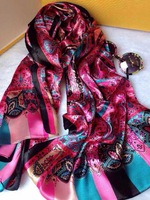 2014New Famous Brand Designer Classic 100% Silk Scarves Print Colorful Fashion Satin Scarf&Shawl 180*70cm Size For Women 6Colors