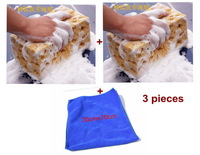 Free shipping Auto Car Washing Cellular Hole Cleaning Coral Polyester Soft Sponges + washing towel Easy to Absorb Water