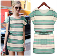 Fashion women's vestido dress striped Fall Dresses O-neck short-sleeved tunic chiffon mini Prom Daily dress
