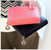 FREE SHIPPING, Fashion patent leather lattice embossing zippers zero purses women's wallets,handbag, C1