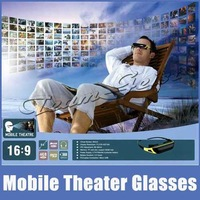 "Multi Language 84"" 16:9 HD 720P Virtual Display Video Glasses Eyewear Wide Screen Mobile Theater TF Card Rechargeable Play  3.5h"