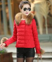 2014 S~XL Fashion Ladies Winter thick Zipper Jacket Woman Fur Collar Jackets Parka Outerwear Stock Ready Drop Free Shipping