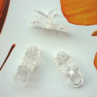 Free Shipping: 500pcs/Lot, Clear KAM D shape Plastic Clips,Plastic  Clamp,Soother Clips,Dummy Clip,KAM Clip, Transparent Clip