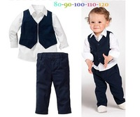 2014 new arrive free shipping autumn spring children cloth set boys gentleman 3pcs set cotton wear children clothing set