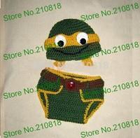Free shipping Crochet baby NinJa Turtle Hat & Diaper cover Set Newborn Crochet Photo Prop