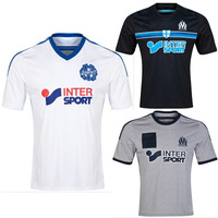 2014/15 Thailand quality Marseille home white away black 3rd gray soccer jersey soccer shirts Free shipping SIZE S-XL