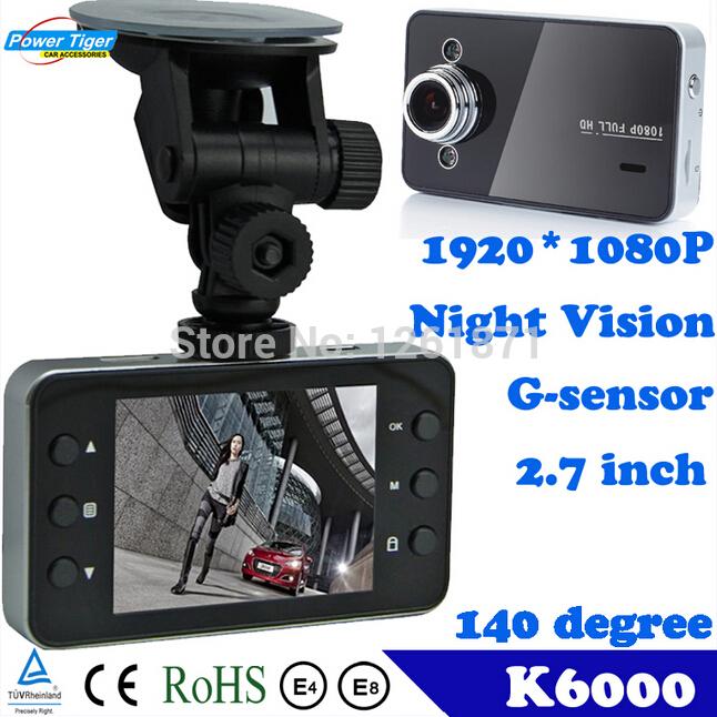 "K6000 Car Dvr 1920*1080P Full HD 2.7"" HD Screen+ G-Sensor+Night Vision+140 Wide Angle Lens Car Camera Video Recorder(China (Mainland))"