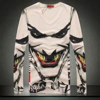 2014 New Autumn Plus Size 3XL Mens t Shirt SKull Brand Top Designer Tops Tees Freeshipping
