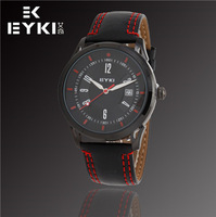 EYKI Brand New Luxury Men Fashion Watch, Automatic Date, Waterproof Watches, High Quality Leather Quartz Watch, Free Shipping