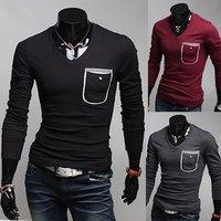 Men t shirt 2013 +Men's long Sleeve T Shirt slim fit , ,cotton,3colors ,4sizes,drop shipping MLT13