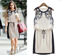 Free Shipping 2014 fashion plus size clothing summer  digital print sleeveless one-piece dressXL 2XL 3XL 4XL 5XL