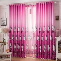 2015 Home Cortinas Para Sala Blackout Curtains free Shipping Hello Kitty Cartoon Printed Curtain Cute Children's Room for Window