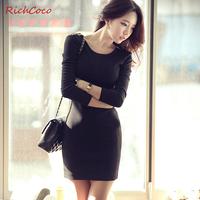 Fashion street racerback zipper slim tube top three quarter sleeve o-neck solid color pullover one-piece dress c020