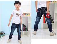 Special Retail------- Free shipping kid's pants new spring handsome boy spiderman cartoon jeans children cowboy pants