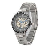 Fashion Stainless Steel Mechanical Automatic Self-Winding Analog Men's Wrist Watch Black
