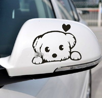 Free Shipping 2PCS Car Stickers, Small Dog Car Decal ,Reflective Waterproof On Rear Windshield Door Rearview Mirror Sticker