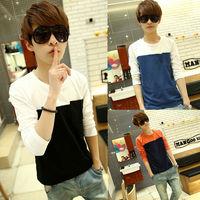 2014 summer men's cotton long-sleeve t shirt patchwork tshirt for man fashion autumn mens shirts brand men casual t-shirts