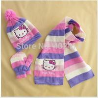 Autumn Winter children girls knitting Hello KT caps Scarf, Hat Glove striped Sets fit 1-5 years