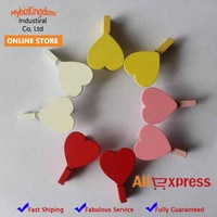 Set of 10 Mini Wooden Peach Heart Craft Pegs Clothespins for Gift Packaging, Wedding Favours, Handmade Goods