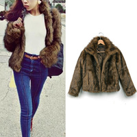2014 Autumn Winter Ladies Full Sleeve Faux Fur Brown Solid colete pele Outwear for Women Coat Free Shipping
