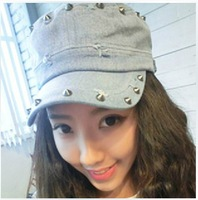 2014 Sale Cowboy Hats for free Shipping Hat Female Summer And Korean Fashion Denim Tidal Flat Cap Rivet Punk Style for Peaked
