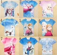 2014new arrivals 2y-8y girls clothing elsa frozen t-shirt nova new arrivals children cartoon clothes fuchsia summer kids t-shirt