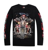 Luminous authentic hip-hop dancers tide male T-shirt long sleeve t-shirt loose large size 3D fluorescence cotton T-shirt L025