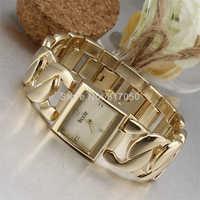 2014 new fashion women dress quartz watches golden retro crystal index dial full steel chain strap bracelet wristwatches
