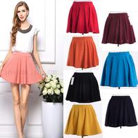 New 2014 cindy 8 colors Ruffle Ball Gown Saias Fashion Waist Skirts Female Plus Large Size Lady Mini Womens Skater Skirt