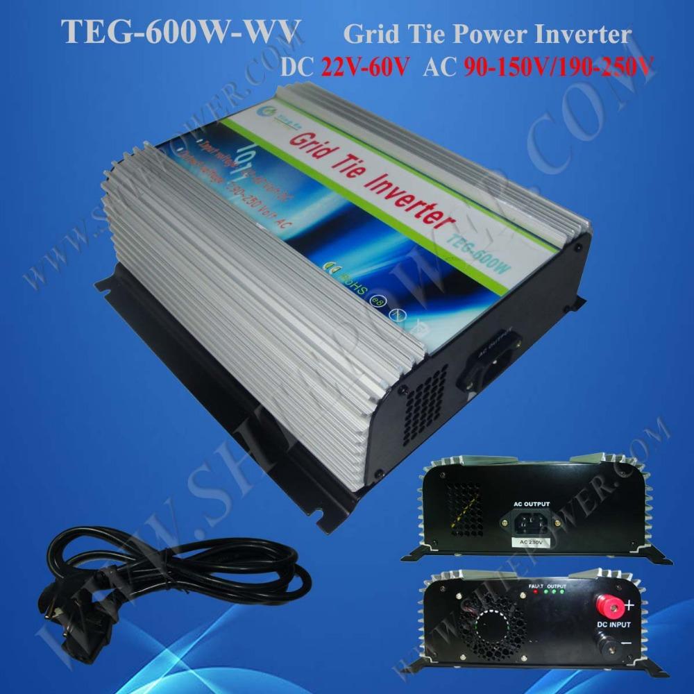 Hot Sale Solar Panel Power Inverter, 600W MPPT On Grid Tie Inverter DC to AC 22V-60V to 100V-240V 600W(China (Mainland))
