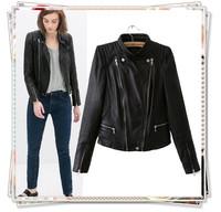 2014 New Fashion Women Winter Brand Faux Motorcycle Leather Jacket PU Short Coat Double Zipper Pocket Button Pleated Outerwear